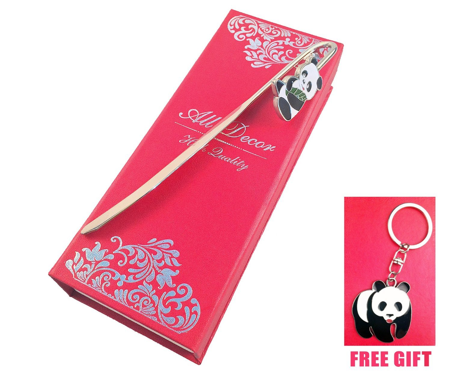 Hook Bookmark Letter Opener Key Ring Key Chain Fob Ring Stainless Steel Black and White Panda, Beautiful Gift Box