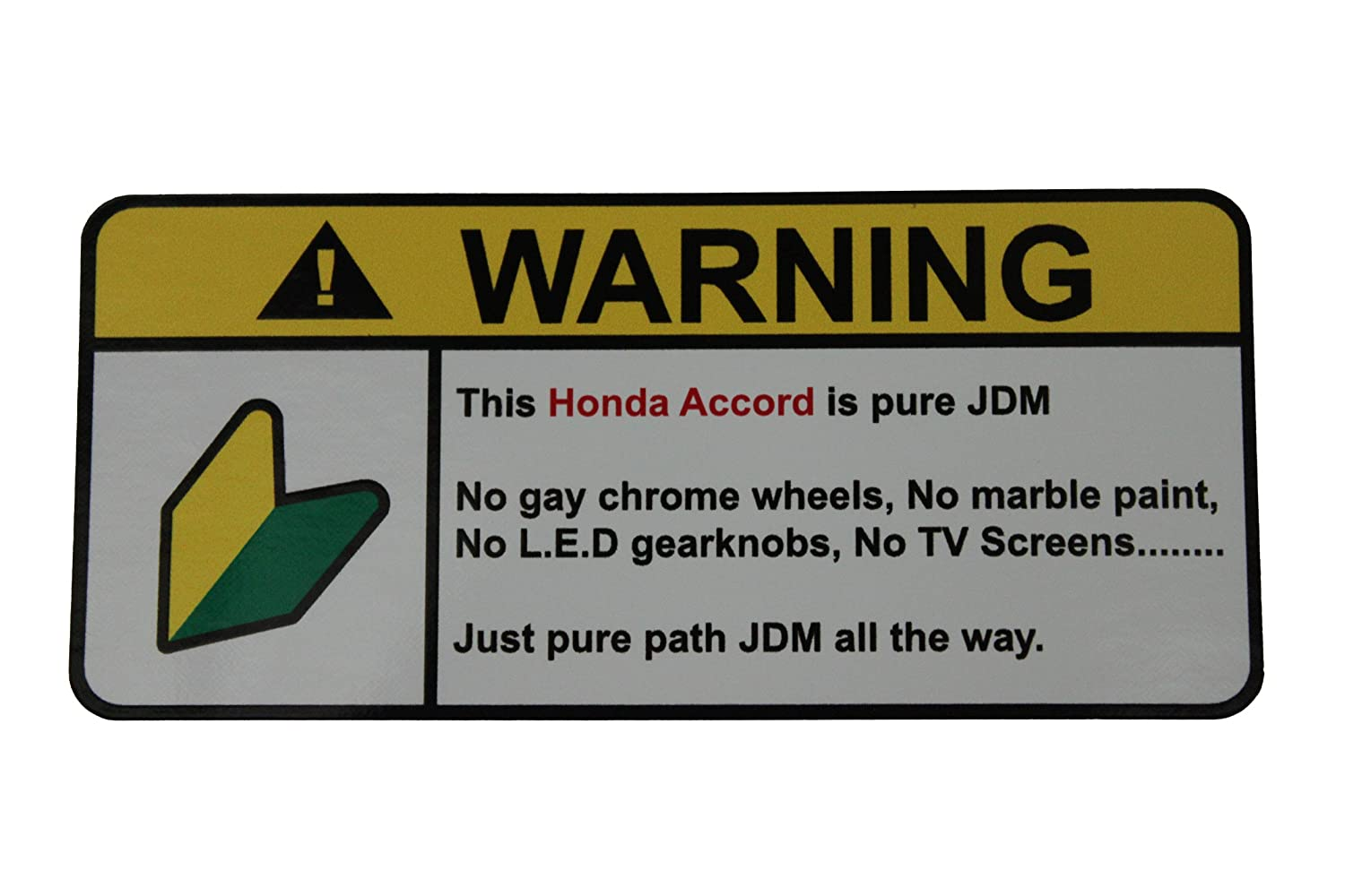 Amazoncom Honda Accord Pure JDM Warning Decal Sticker Automotive - Honda accord decals stickers