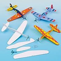Baker Ross EV1813 glijvliegtuig om te spelen voor kinderen, met viltstiften of knutselverf, als prijs en cadeautje voor kinderverjaardag (8 stuks), gesorteerd