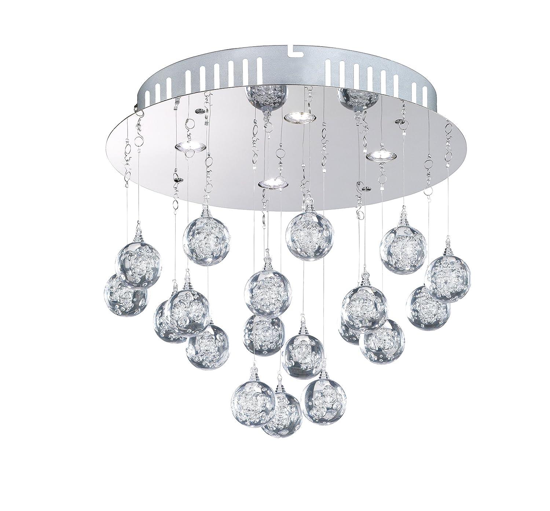 WOFI Deckenleuchte, 4-flammig Serie GLAM 4 x LED   4, 5 W, 30 x 17 x 30 cm, 3000 k, 320 lm, Energieeffizenzklasse A+ Acrylbehang Bläschendekor, chrom 9445.04.01.0000