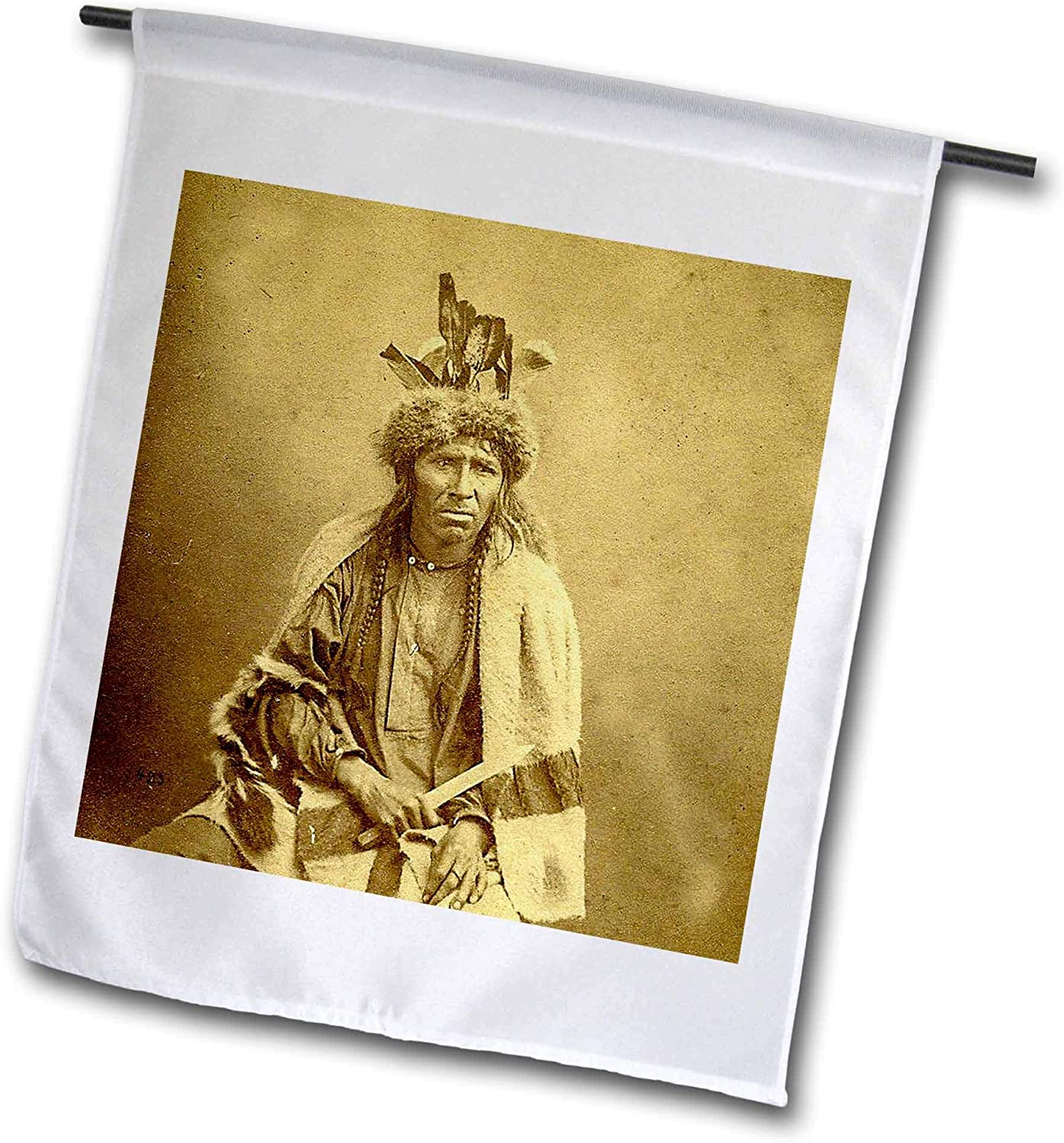 3dRose Scenes from The Past - Stereoview - Vintage Stereoview Card 1870 Native American Chippewa Chief Bitter Man - 12 x 18 inch Garden Flag (fl_300274_1)