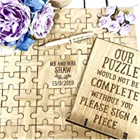 Wedding guest book | wooden jigsaw puzzle personalised with sign stand alternative to letter guestbook or hearts/heart frame