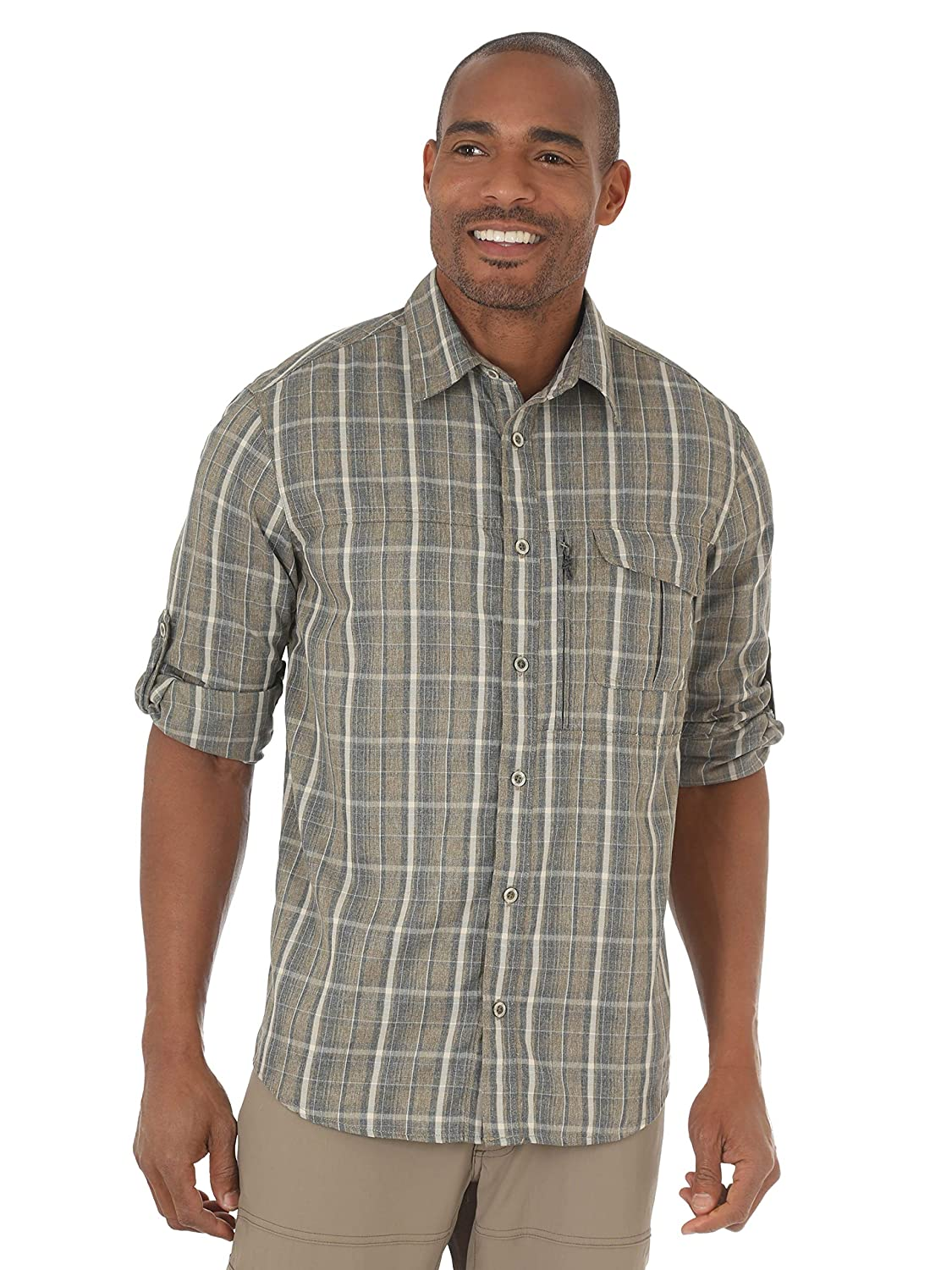 Wrangler NSP93 Mens Outdoor Wicking Plaid Utility Shirt
