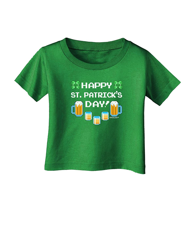 TooLoud Pixel Happy St Patricks Day Infant T-Shirt Dark