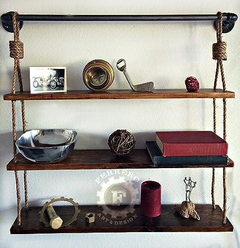 Amazon.com: Rustic Hanging Shelf Shelves Rustic Shelves Pipe Shelf ...