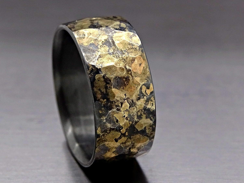 Mens Wedding Band Mens Wedding Ring Oxidized Ring Black Gold Ring Rustic Ring Unique Wedding Band Viking Wedding Ring Bold Man Wedding Bands