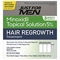 Just for Men Minoxidil Extra Strength Hair Loss Regrowth Treatment for Men, Includes Dropper Bottle, 3 Month Supply