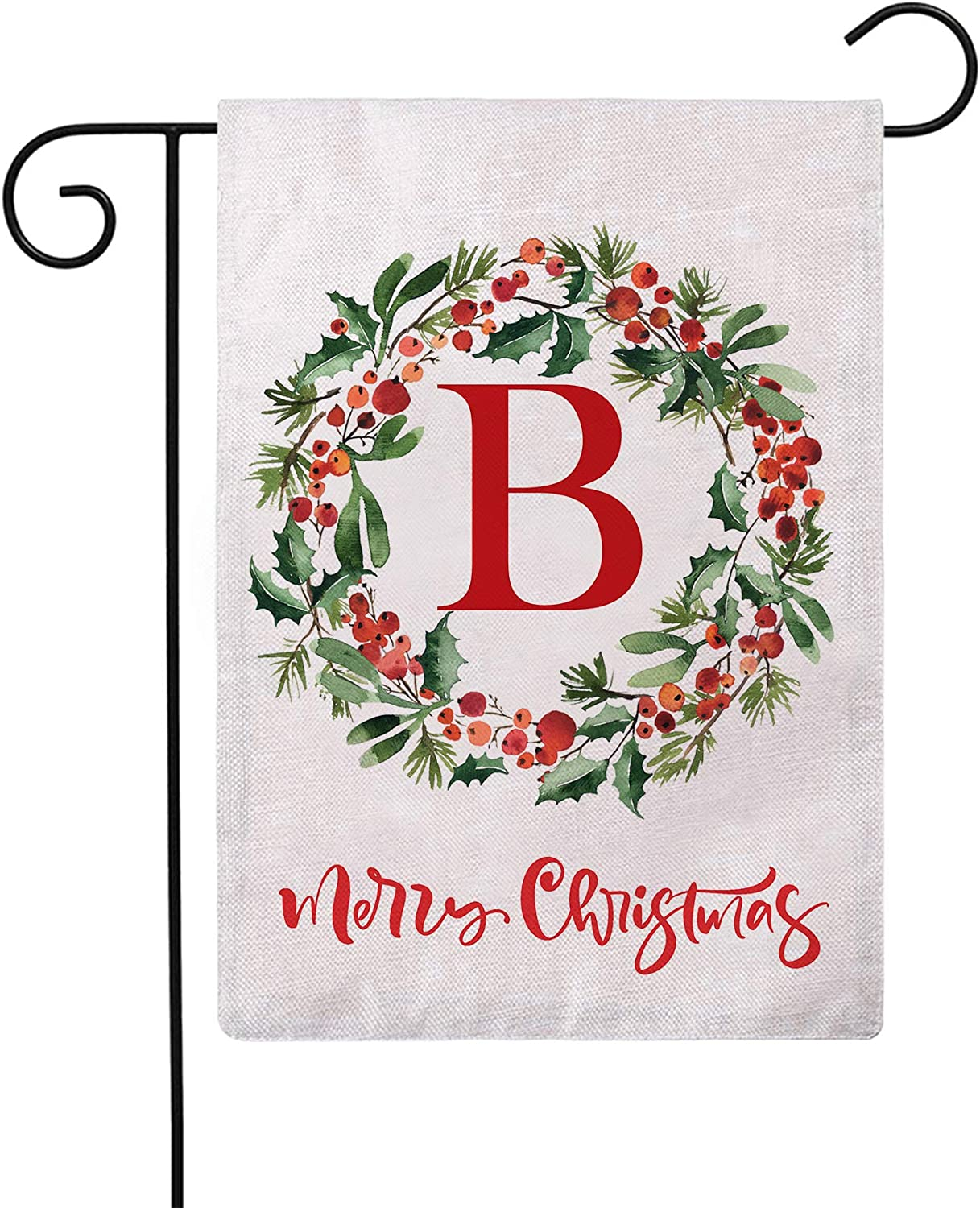 ULOVE LOVE YOURSELF Merry Christmas Wreath Decorative Garden Flags with Monogram Letter B Double Sided Winter Holiday Outdoor Garden Flags 12.5×18 Inch for House Garden Yard Patio Decor (B)