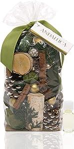 ANDALUCA Evergreen Pine Scented Potpourri | Made in California | 20 oz Bag + Fragrance Vial