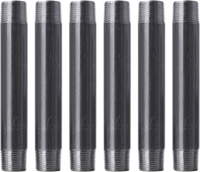 """Pipe Decor 1"""" x 8"""" Malleable Cast Iron Pipe, Pre Cut Connector, Industrial Steel Grey Fits Standard One Inch Black Threaded Pipes Nipples and Fittings, Build Vintage DIY Furniture, One Inch, 6 Pack"""