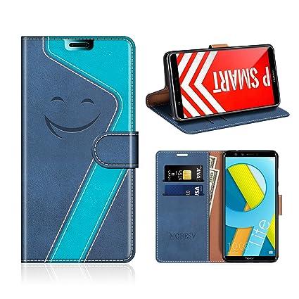 MOBESV Smiley Honor 9 Lite Hülle Leder, Honor 9 Lite Tasche Lederhülle/Wallet Case/Ledertasche Handyhülle/Schutzhülle für Hon