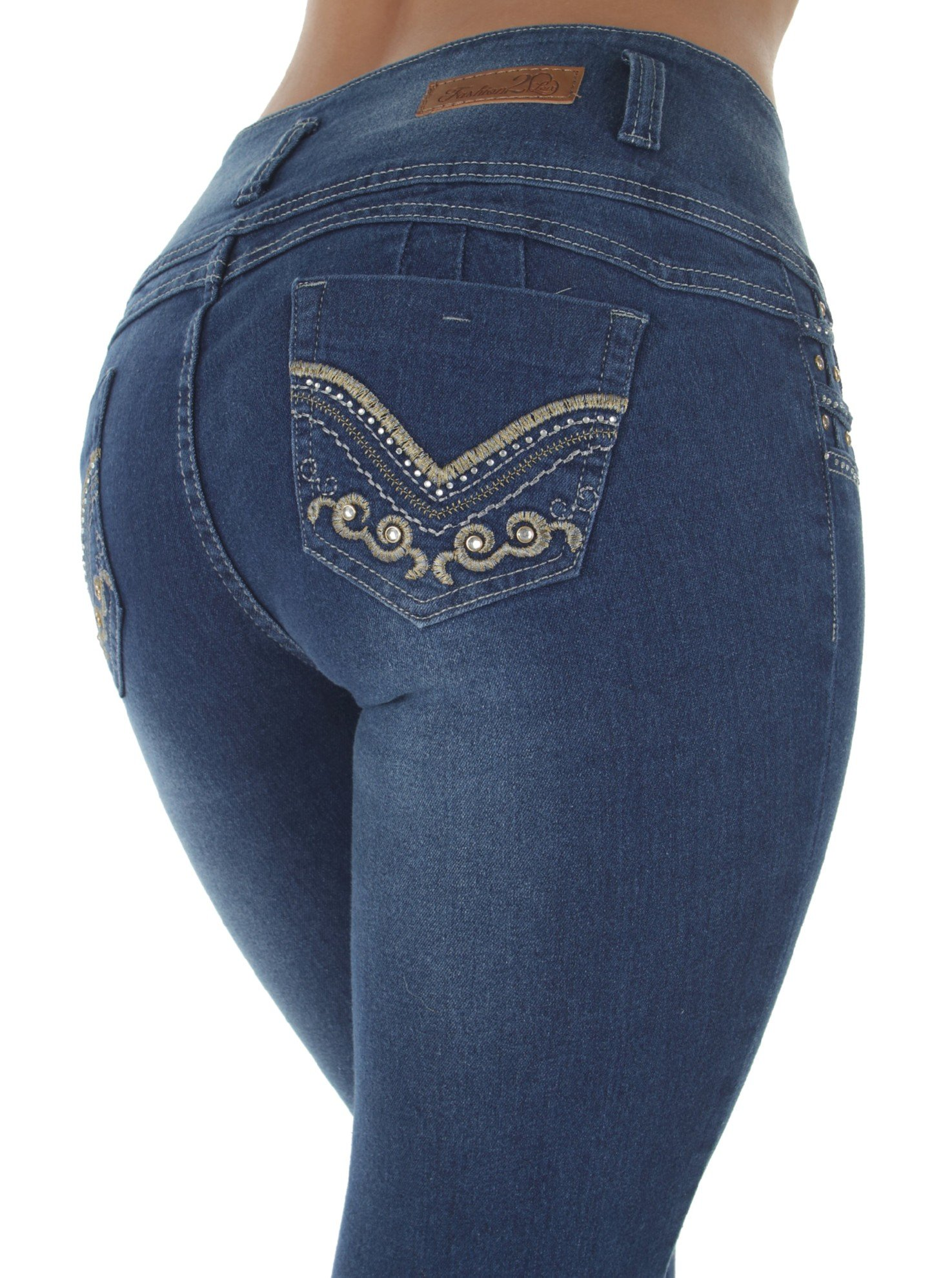 Style G389– Colombian Design, High Waist, Butt Lift, Levanta Cola, Skinny Jeans in M. Blue Size 15