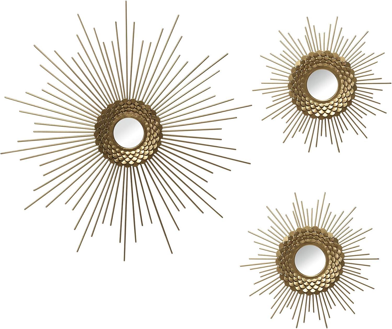 Stratton Home Décor Stratton Home Decor Set of 3 Gold Starburst Wall Mirrors Burst, 18.00 X 0.75 X 18.00
