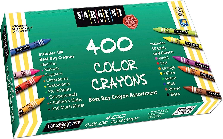 B0027PA150 Sargent Art 400-Count Crayon Class Pack, Best-Buy Assortment, 3-5/8 Inch, 55-3220 81NAucXEsPL
