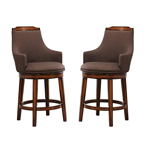 Phenomenal Homelegance Bayshore Swivel Counter Height Arm Chairs Set Of 2 Rustic Oak Pabps2019 Chair Design Images Pabps2019Com