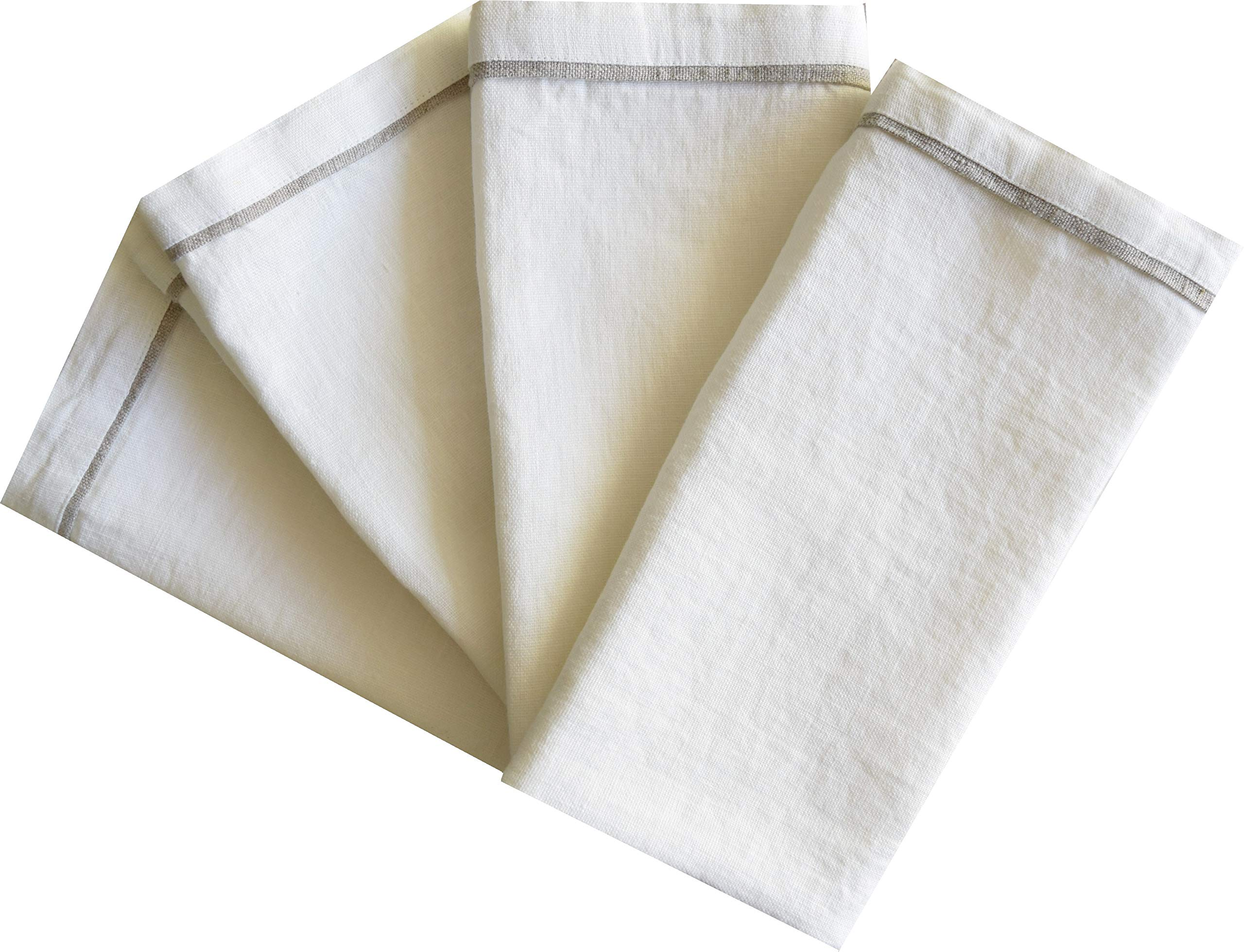 Lyneco White Linen Dinner Napkins - 22 x 22 inch (Large) - Pack of 4-100% Pure European Flax - Kitchen Handcrafted Table Napkins, Machine Washable with Mitered Corners