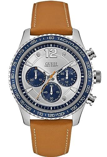 Guess Reloj Cronógrafo para Hombre de Cuarzo con Correa en Cuero W0970G1: Amazon.es: Relojes