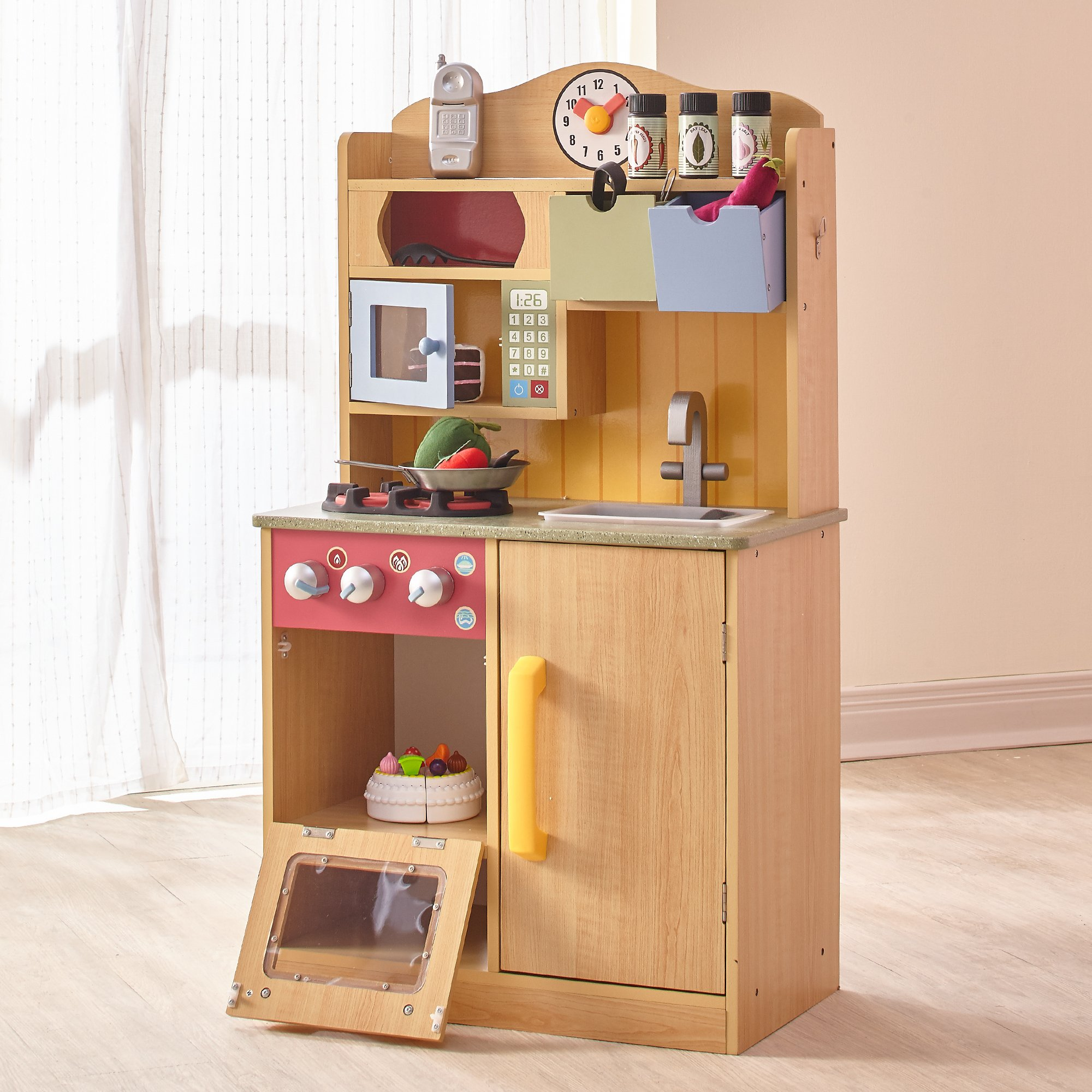 Teamson Kids - Little Chef Florence Classic Kids Play Kitchen | Toddler Pretend Play Set with Accessories - Wood Grain by Teamson Kids (Image #5)