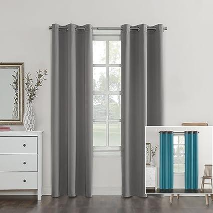 Sun Zero Campus Fleece Insulated Reversible Blackout Curtain Panel 40quot X 63quot
