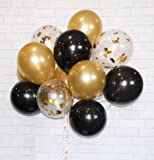 "Gold Confetti 12"" Latex SET 40. FREE Blow helper. Top Quality for Parties, Anniversaries, Weddings, Decoration, Supply (Gold, Black, Clear With Gold Confetti)"