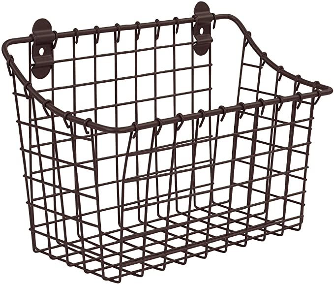 Spectrum Diversified Vintage Large Cabinet & Wall-Mounted Basket for Storage & Organization Rustic Farmhouse Decor, Sturdy Steel Wire Storage Bin, Bronze