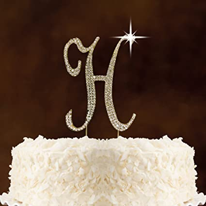 letter h gold rhinestone crystal cake topper for wedding birthday anniversary party