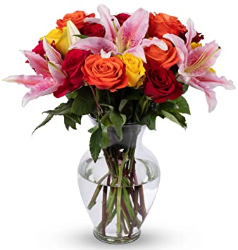 230 & Benchmark Bouquets Big Blooms With Vase (Fresh Cut Flowers)
