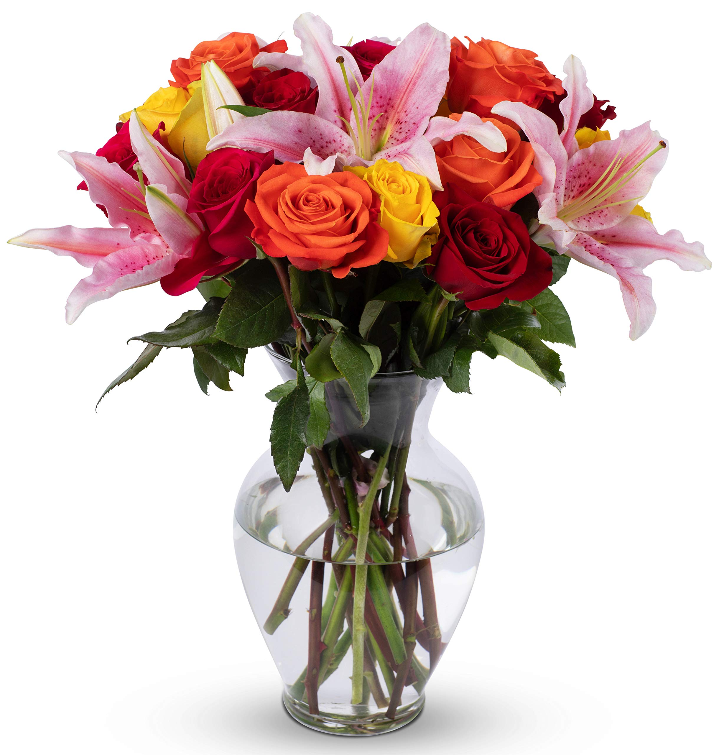 Amazon Benchmark Bouquets White Elegance With Vase Fresh Cut