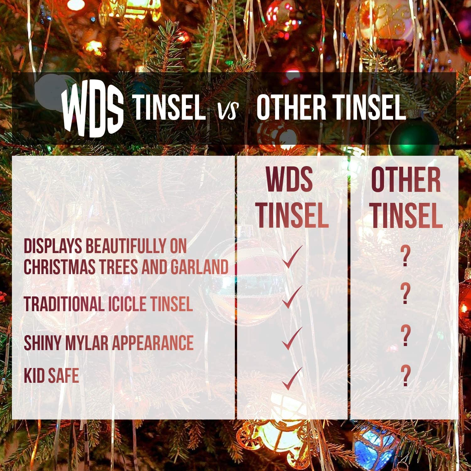 18 Inch Long WDS Icicle Tinsel Garland for Christmas Trees