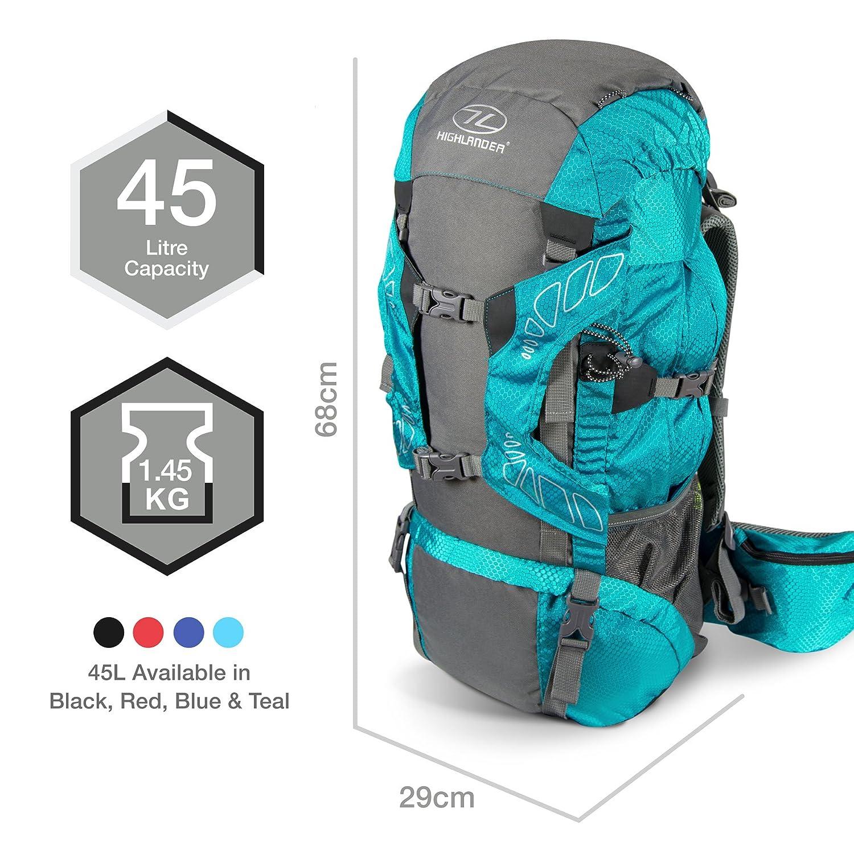 4ba8bfaad9c Amazon.com : Highlander Outdoor Discovery 45-Liter Rucksack, Black : Sports  & Outdoors