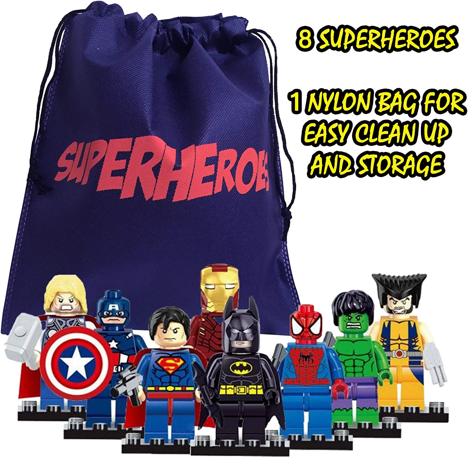 fat cat sales Superhero Mini Building Block Action Figures 8 PCS with A Bag for Quick Clean UP - Building Blocks are Interlocking & Fun to Assemble - Interchange The Pieces for New Looks