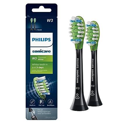 Genuine Philips Sonicare W3 Premium White toothbrush head, HX9062/95, 2-pk, black