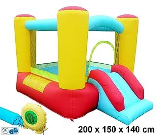 Castello gonfiabile Spring Castello Gioco Castello Scivolo casa giocattolo gonfiabile colorato (200x 150x 140cm), TÜV/GS 250Watt soffiatore, Borsa per il trasporto, Izzy Sport