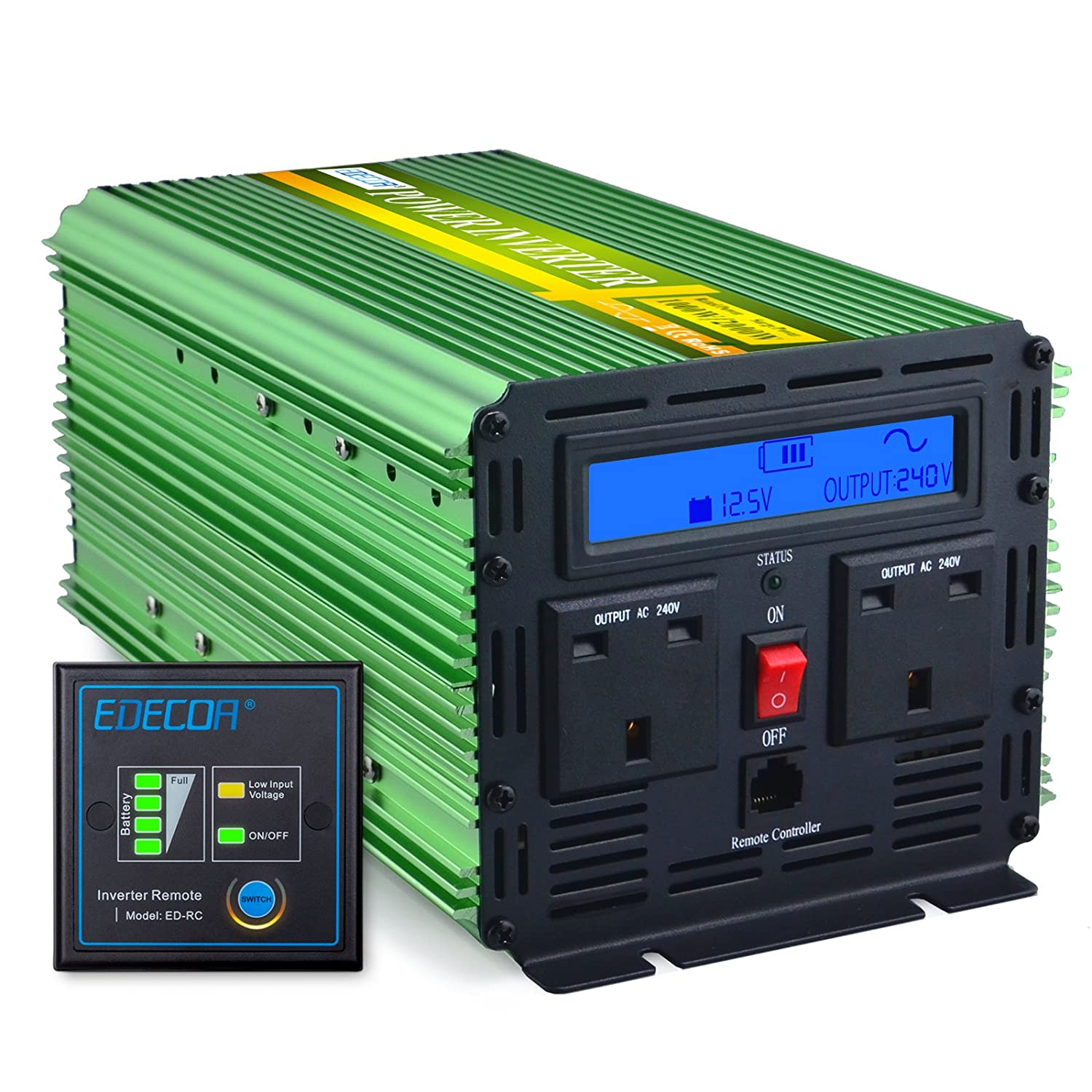 EDECOA 1000W Peak 2000W Pure Sine Wave Power Inverter DC 12V to AC 240V for Car Vehicle with LCD Display and Remote Control - Green CT9P21G10L