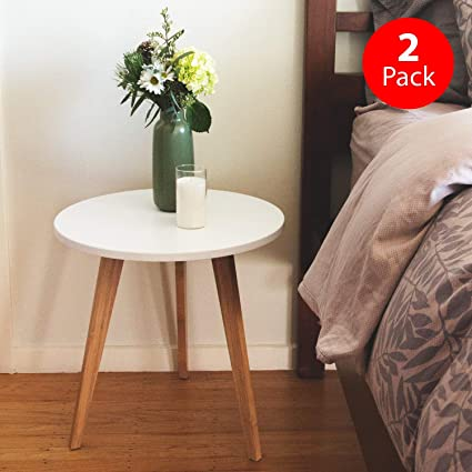 Gentil Mid Century Modern End Table: Perfect Bedside Nightstand Or Living Room  Side/Accent Table   White Round Tabletop U0026 3 Bamboo Legs [2 Pack]: Kitchen  U0026 Dining