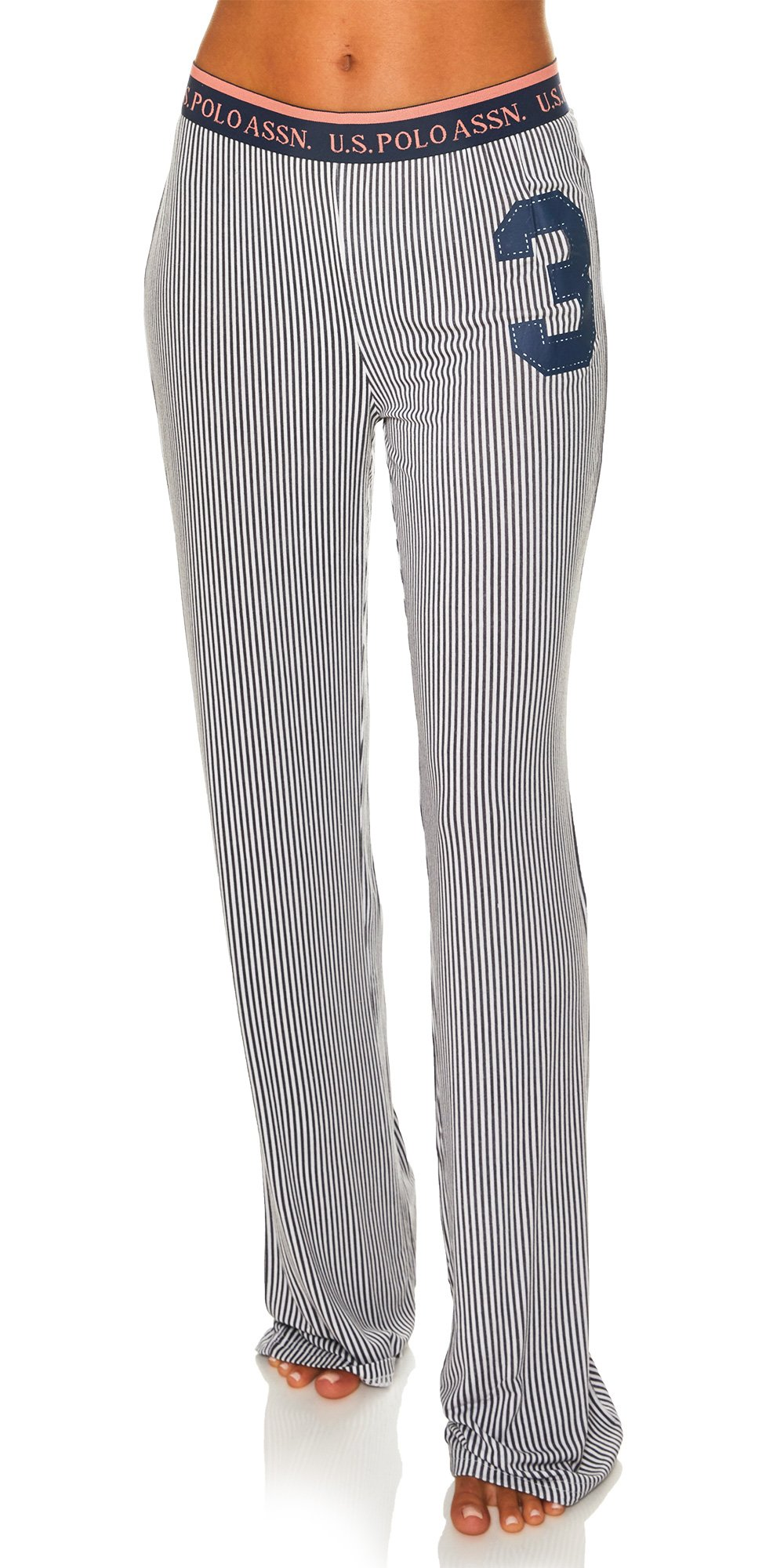 US Polo Assn. Womens Casual Lounge/Sleepwear Patterned Long Pajama Pant Charcoal Medium