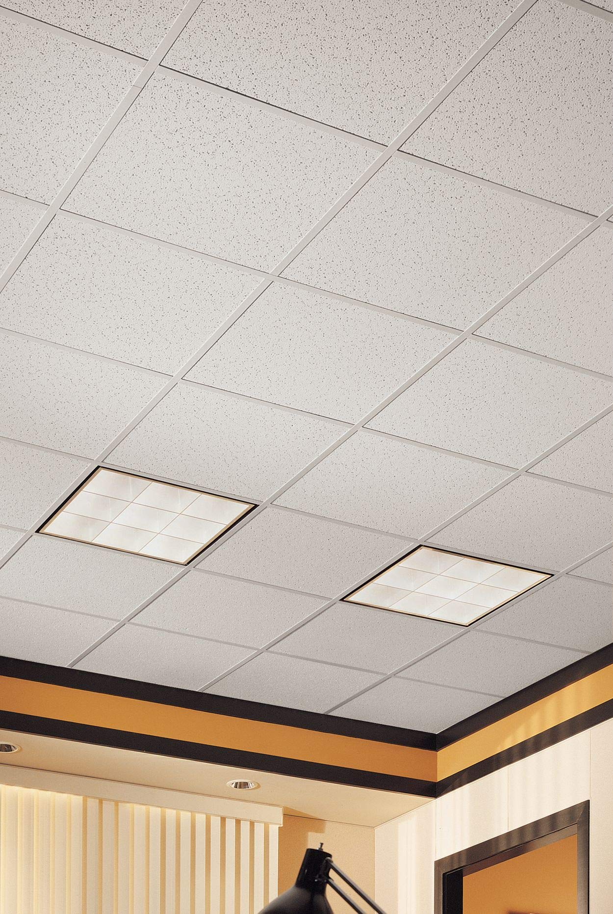 Armstrong Ceiling Tiles; 2x2 Ceiling Tiles - Acoustic Ceilings for Suspended Ceiling Grid; Drop Ceiling Tiles Direct from the Manufacturer; CORTEGA Item 770 – 16 pcs White Lay-in by Armstrong (Image #5)