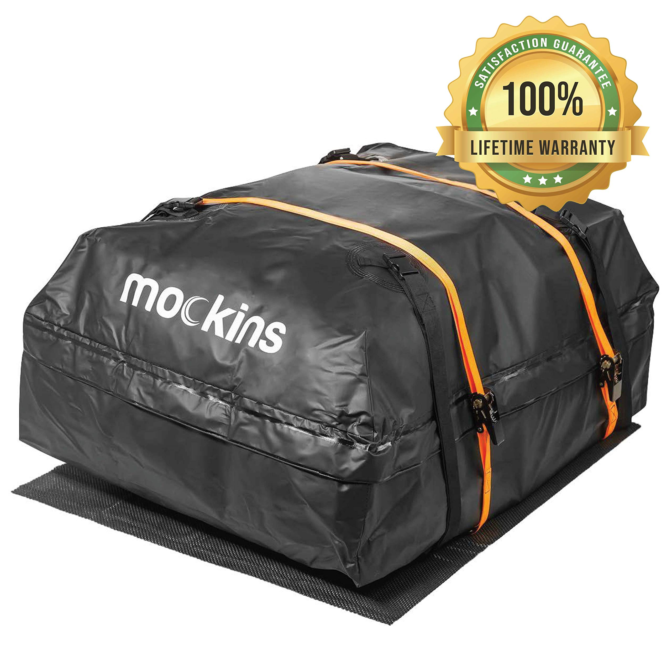 Mockins Waterproof Cargo Roof Bag Set with A Protective Car Roof Mat and 2 Extra Ratchet Straps   The Car Top Carrier Bag is Made from Heavy Duty Abrasion Resistant Vinyl and has 15 Cubic ft of Space by Mockins