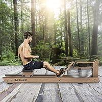 Mr Rudolf Máquina de remo de agua, madera, aparatos de fitness para casa, máquina de remo de agua, usuarios de hasta 200…