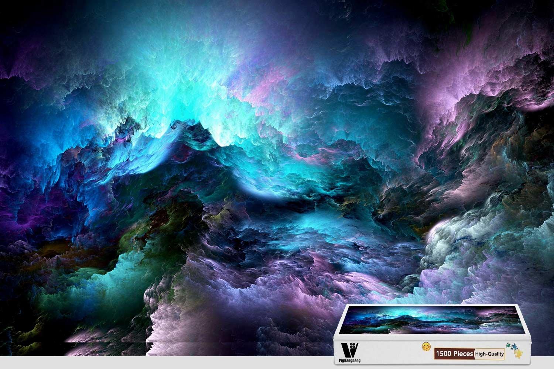 【上品】 PigBangbang、34.4 X 22.6インチ -、堅い木製箱に入った有名な絵画 B07FRX2G2H、明るくカラフルな3Dグラフィックス サイケデリックな星雲のスペース - 1500ピースジグソーパズル X B07FRX2G2H, ウエノソン:0e6753f4 --- 4x4.lt