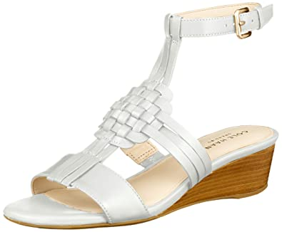 1b1dc1fd2959 Cole Haan Women s Findra Woven Slide Wedge Sandal White Leather 8.5 ...