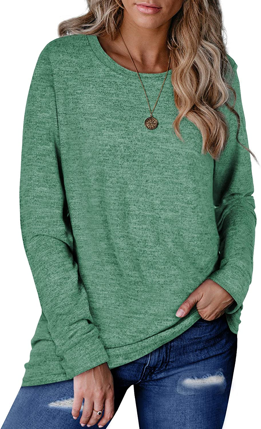 WEESO Sweaters for Women Long Sleeve Color Block Casual Round Neck Cute Tunic Tops