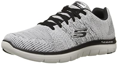 Skechers Sport Men's Flex Advantage 2.0 Missing Oxford Sneaker,White/Black,6.5  M