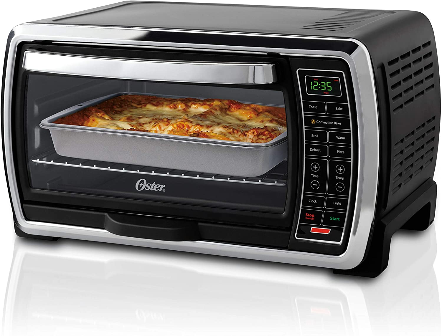 Amazon.com: Oster Toaster Oven | Digital Convection Oven, Large 6-Slice  Capacity, Black/Polished Stainless: Kitchen & Dining