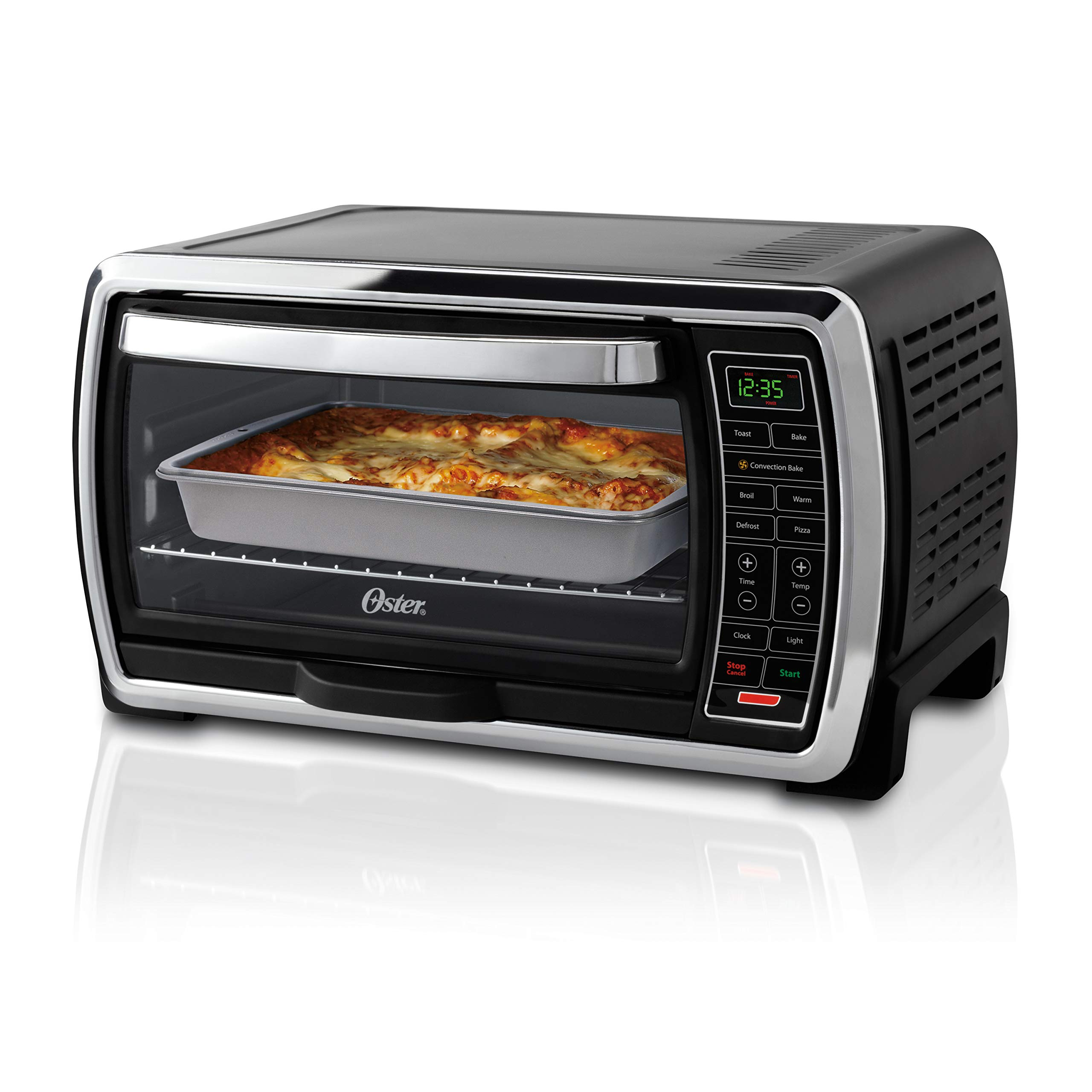 Oster Toaster Oven | Digital Convection Oven, Large 6-Slice Capacity, Black/Polished Stainless by Oster