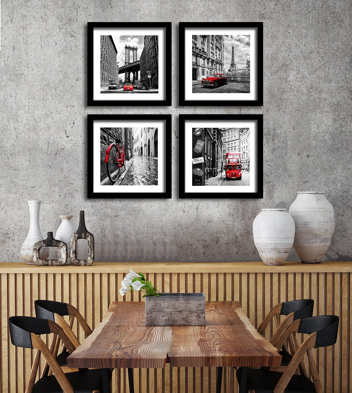 SUNFROWER ART City Wall Art - Black White Cityscape Canvas Print Wall Art - Paris Eiffel Tower - London Double Decker Buss Classic Red Car Home Office Decor (24x24inchx4, Black Picture Frame)