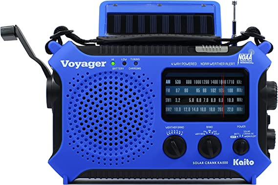 Kaito KA500BU 5-Way Powered Emergency AM/FM/SW Weather Alert Radio, Blue