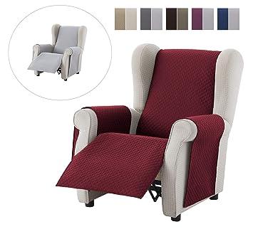 textil-home Funda Cubre Sillón Relax Adele, Tamaño 1 Plaza -Protecto Sofá Acolchado Reversible. Color Rojo