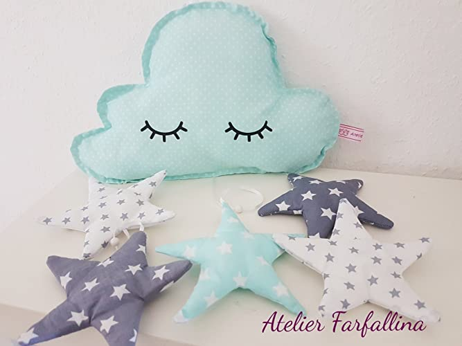 Wolken Mobile Sleepy Eyes Mint Grau Handmade Kinderzimmer Mobile