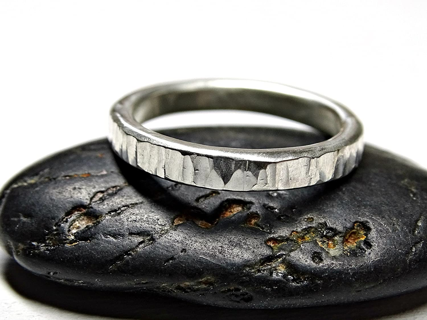 Amazon Silver Wood Grain Ring Grass Wedding Band Hammered Engagement Promise Forged Tree Bark: Wedding Ring Forged Iron At Reisefeber.org
